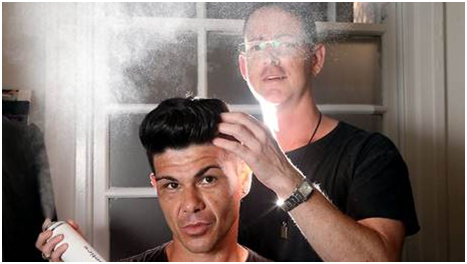 Alex Jackson from The Boys Hair and Makeup styled and cut Colin McDonald's hair. Picture: Adam Taylor Source: The Sunday Telegraph